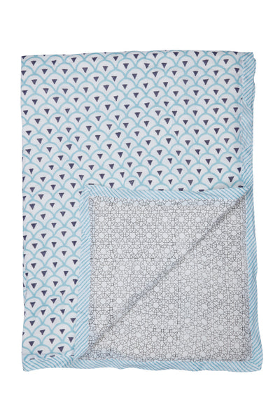 Kyoto Aqua & Starburst Quilt - SINGLE