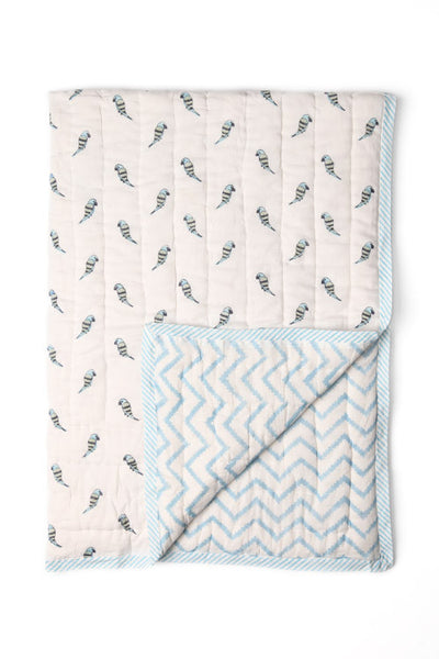 Aqua Bird & Chevron Quilt - SINGLE
