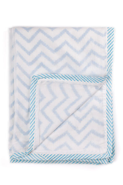 Aqua chevron hand block printed dohar (summer blanket) in Aqua Chevron print by Feroza Designs