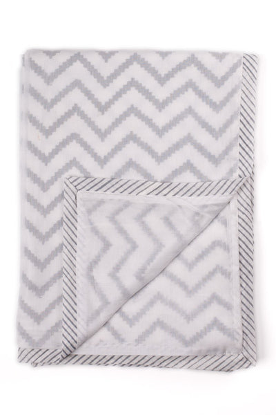 Grey chevron hand block printed baby dohar (summer blanket) in Grey chevron print by Feroza Designs