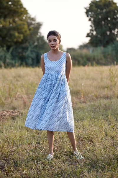 The perfect summer dress , hand block printed by Feroza Designs in 100% cotton
