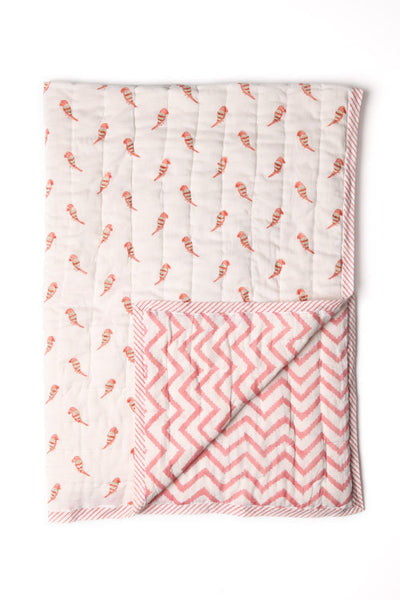 Rose Bird & Chevron Quilt - BABY/TODDLER
