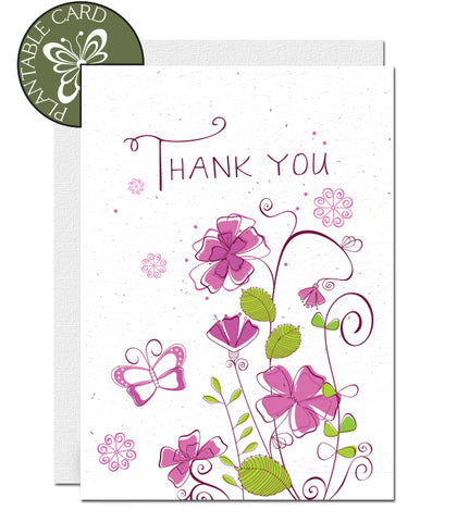 eco-friendly thank you card, carte de remerciements écologique