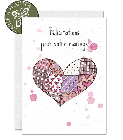 eco-friendly wedding card, carte de mariage éco-responsableque