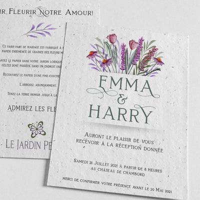 Carte Invitation Mariage à Planter