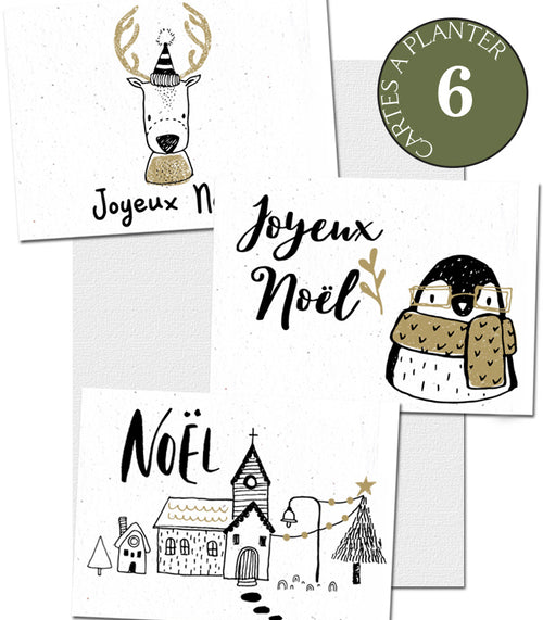 Cartes à planter Noël lot de 6