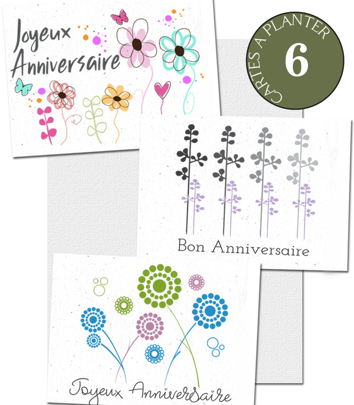 set of 6 small plantable cards