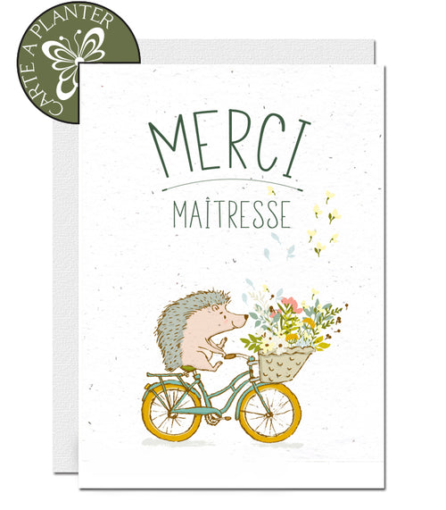 Plantable Thank You Teacher Card - Hedgehog on Bike