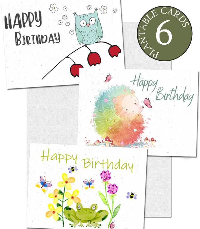 Cartes d'Anniversaire à Planter - Lot de 6 Cartes
