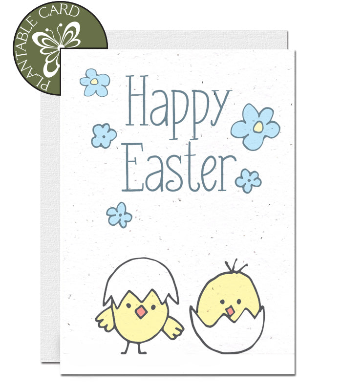 environmentally friendly Easter card chicks