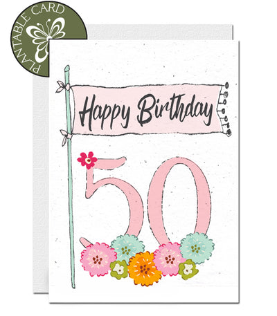 plantable card 50th birthday