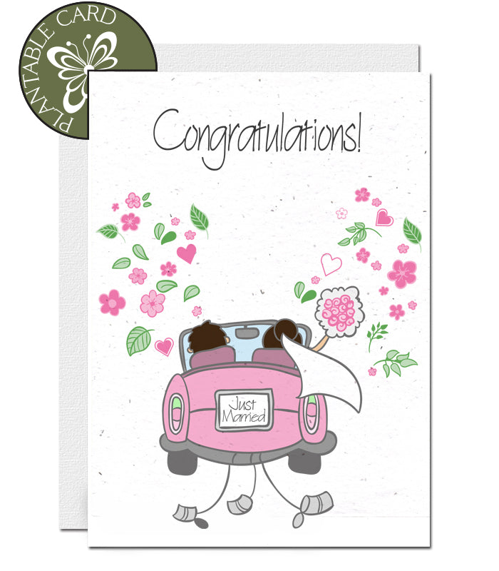 Plantable Wedding Card - Wedding Car