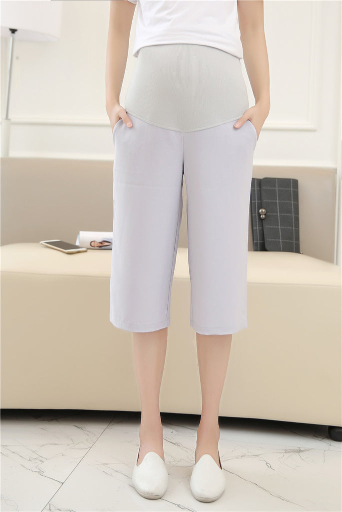 Maternity Crepe Culotte Trouser in Ice Grey