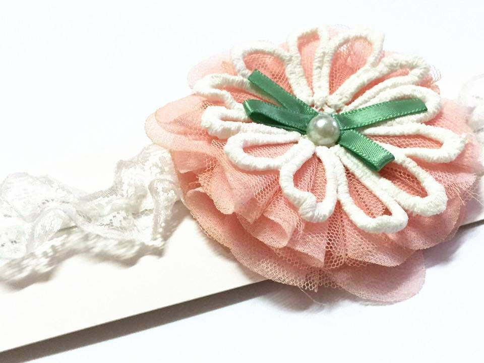 Tiered Flowers with Ribbons Baby Headband - I Babyland  - 4