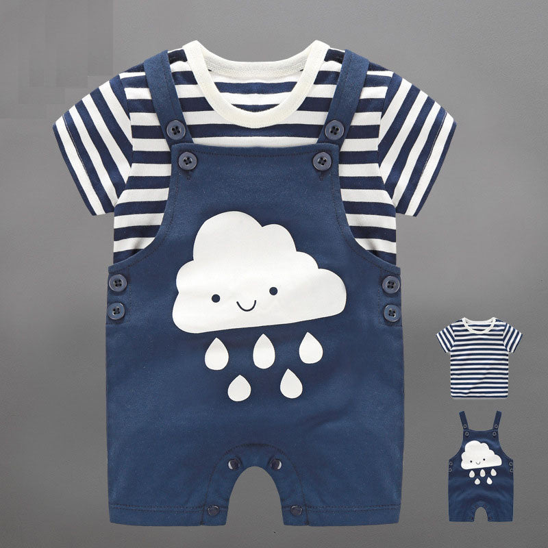 Cloud Overall And Stripes Top 2pc Set (Back Order)
