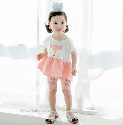 Pink Fox Top and Shorts Matching Set - I Babyland  - 1