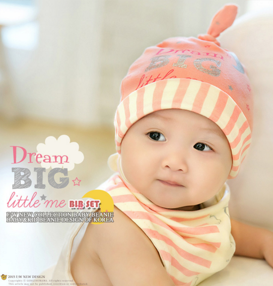 Big Dream Bib and Hat Set in Pink
