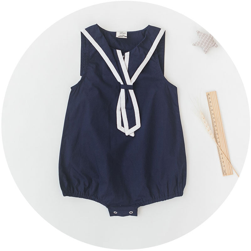 Navy Blue Sailor Collar Romper