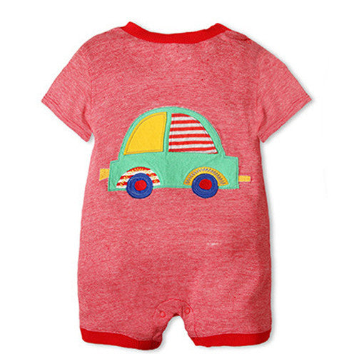 Red Stripes With Car One Piece