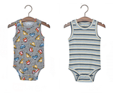 Cars And Stripes Singlet Rompers Set