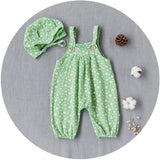Minnie Print Jumpsuit With Hat Set (Green)