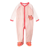 Pink Stripes Fox Sleepsuit