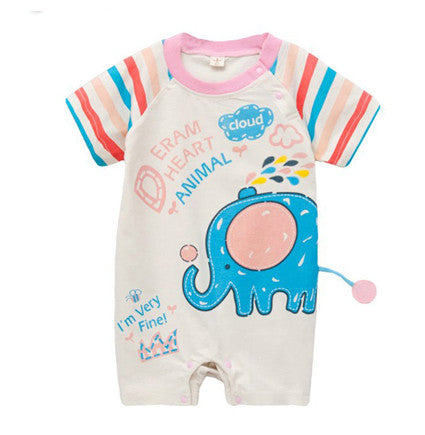 Pink Elephant with Tail Onesie