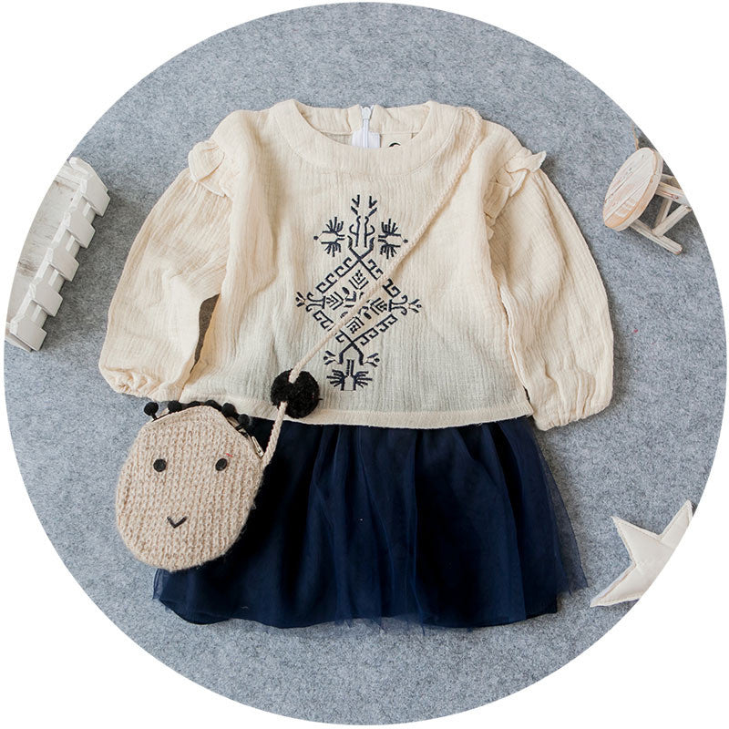 Embroidery Long Sleeve Top 2pc Set