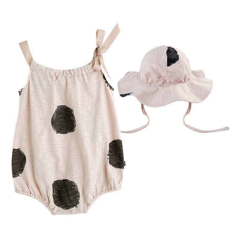 Black Polka Dots Almond Romper with Hat