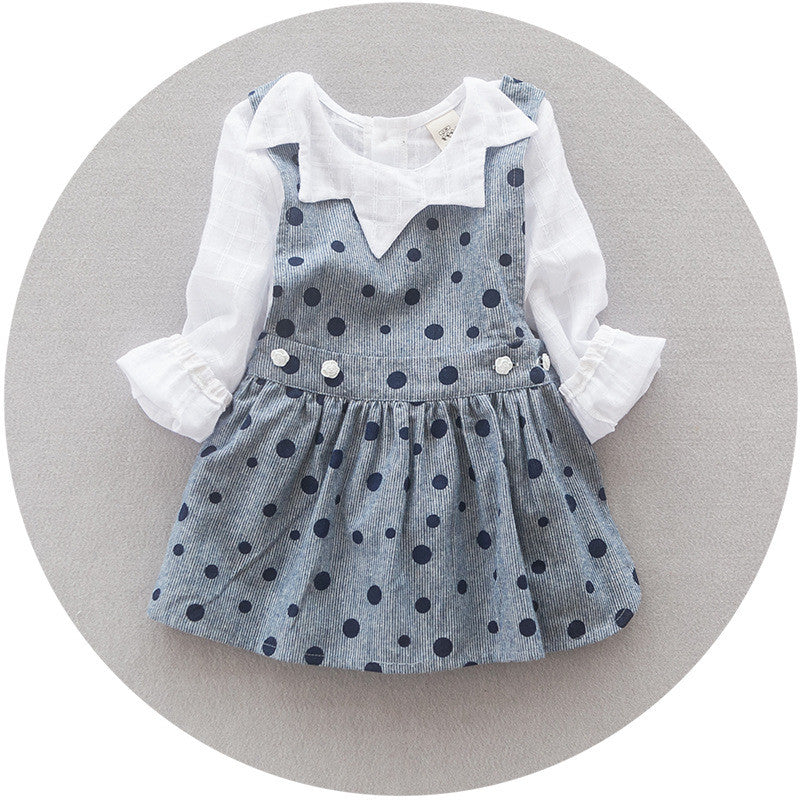 Polka Dots Overall Dress in Grey 2pc Set