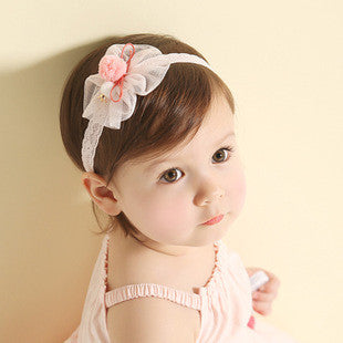 Lace Bow and Furry Ball Headband in Pink