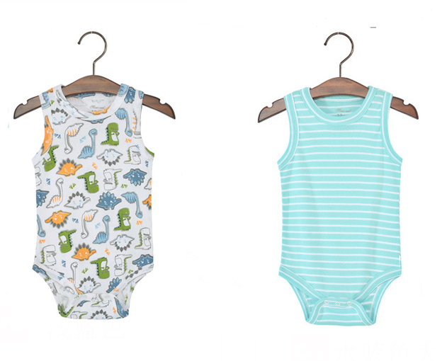 Dinosaur And Stripes Singlet Rompers Set