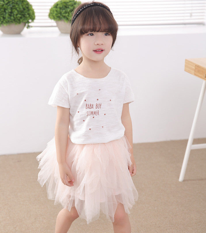 White Alphabet Tee and Tulle 2pc Set