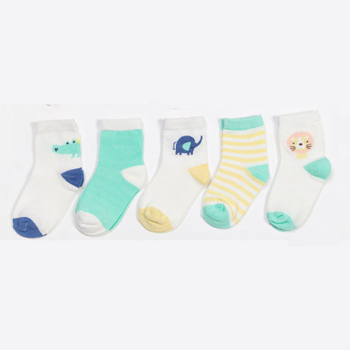 5-pack Elephant and Crocodile Crew socks