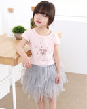 Grey Alphabet Tee and Tulle 2pc Set