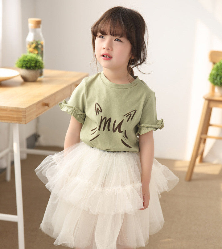 Olive Green Alphabet Tee and Tulle 2pc Set