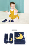 Star and Moon Navy Blue Socks