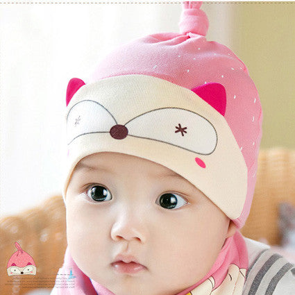 Cute Fox Bib and Hat Set in Pink
