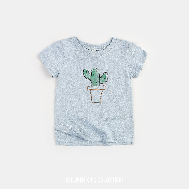 Cactus Tee in Dusty Blue