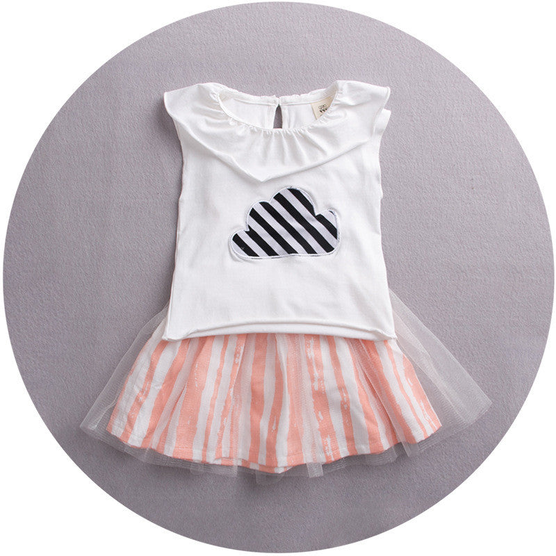 Cloud Top in white with Stripes Skirt 2pc Set