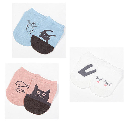 3-pack kitty and bunny socks