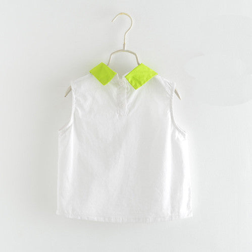 Sleeveless White Top With Green Collar