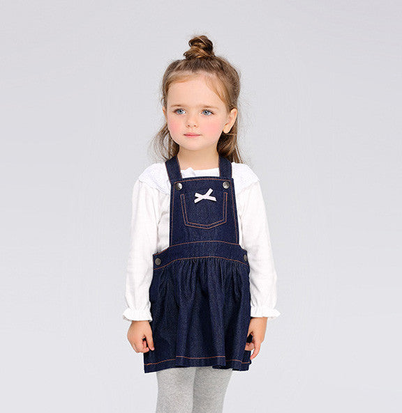 Faux Denim Overall Dress