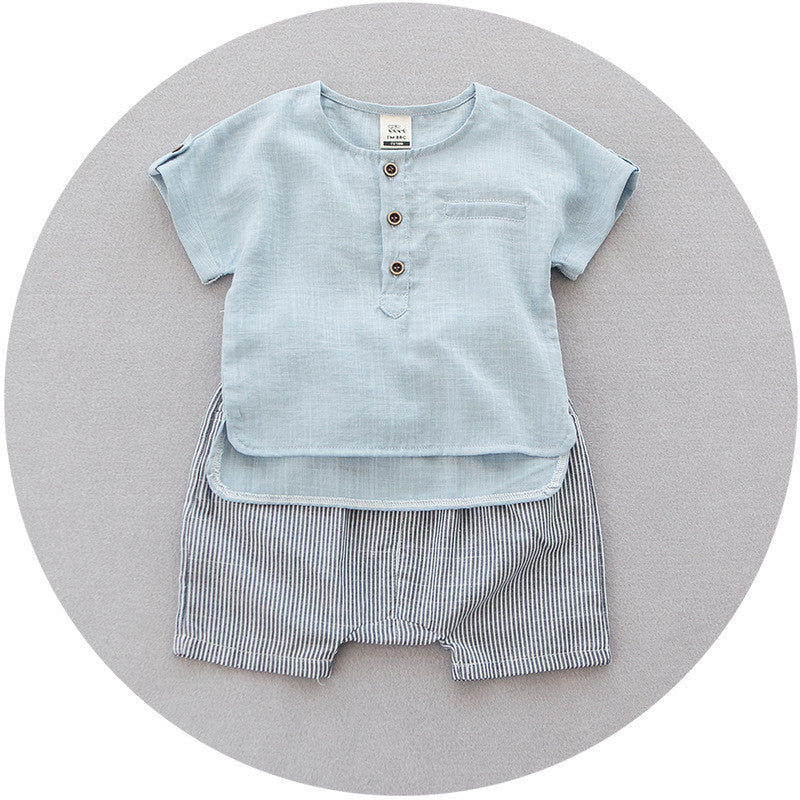 Blue Shirt and Stripes Pants 2 pc set