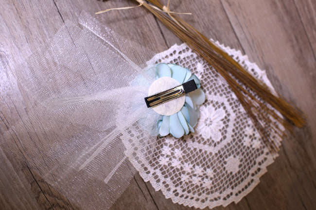 Aqua Green Lace Flower Hair Clip