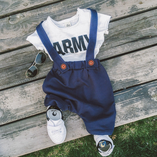 Dark Blue Overall with matching top 2pc Set (Back Order)
