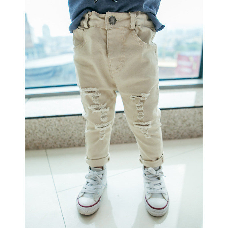 Ragged Skinny Pants in Beige
