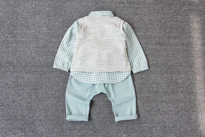 Green Checker Shirt with Vest 3 pc Set