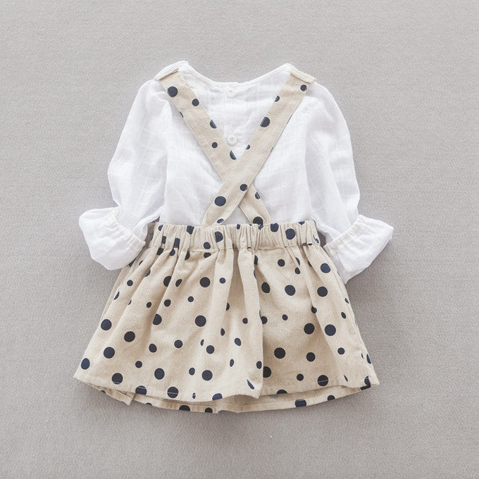 Polka Dots Overall Dress in Khakis 2pc Set