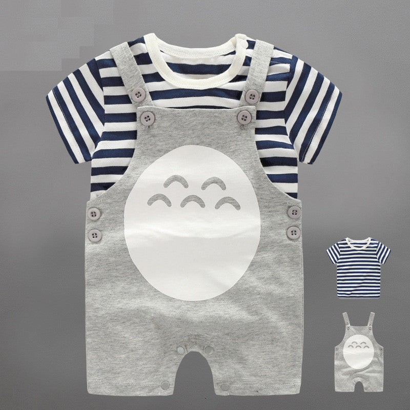 Stripes Top and Totoro Overall 2pc Set